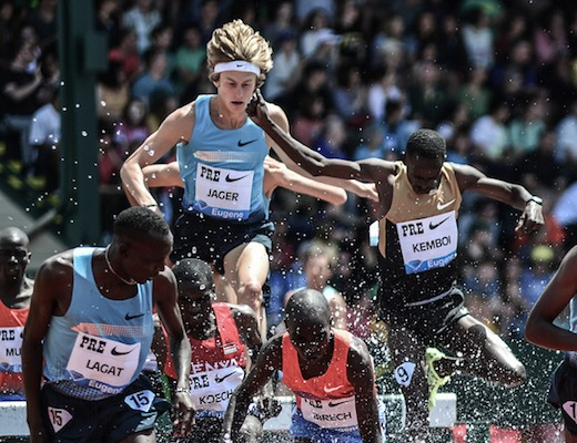 Evan Jager stumbles, but delivers second fastest American steeple ever in opener