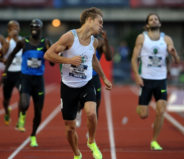 Ahead by a clear margin, Symmonds displays the lean that he'd practicing a month leading into the Trials. (Randy Miyazaki / TrackandFieldPhoto.com)